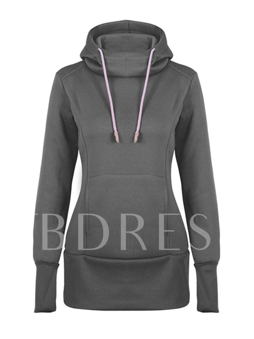 Thick Plain Hooded Pullover Women's Hoodie