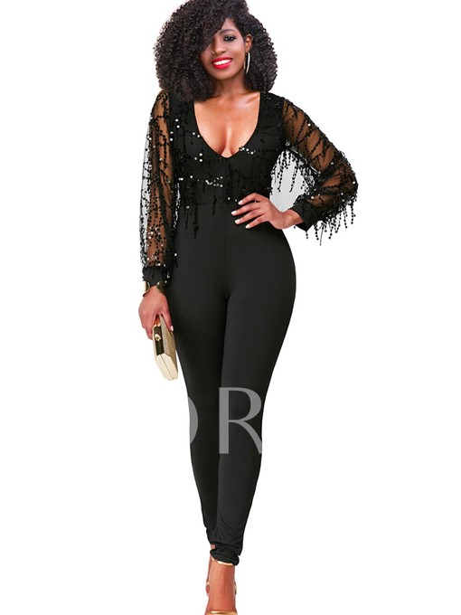 Sexy Sequins Long Sleeves Women's Jumpsuits