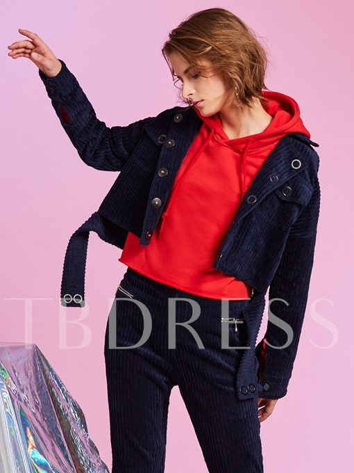 Straight Lapel Single-Breasted Plain Women's Jacket