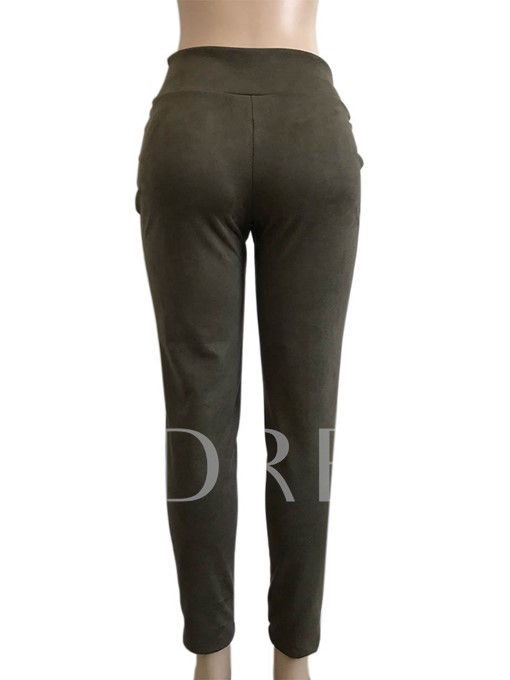 Skinny Side Zipper High Waisted Women's Casual Pants