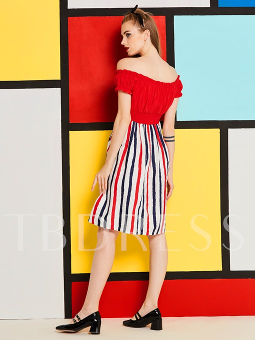 Striped Slash Neck Women's Day Dress