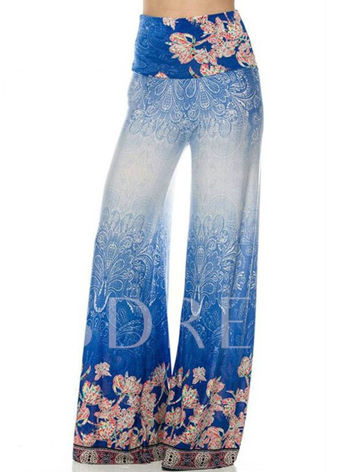 Print High Waist Wide Legs Women's Casual Pants