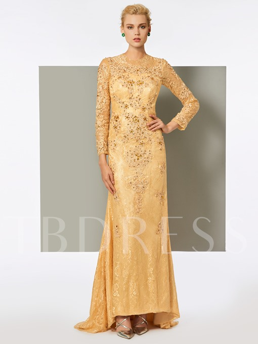 Long Sleeves A-Line Lace Appliques Evening Dress