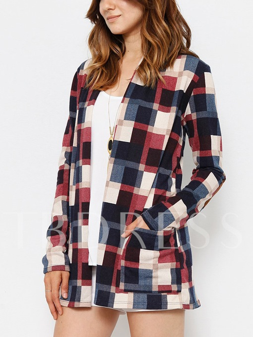 Long Sleeve Plaid Print Elbow-Patch Open Front Women's Cardigan Sweater