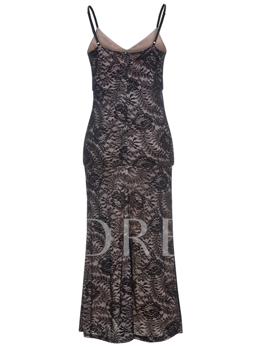 Plus Size Black Lace Women's Maxi Dress