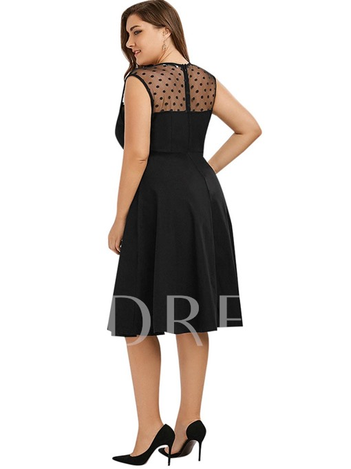 Plus Size Square Neck Patchwork Women's Day Dress
