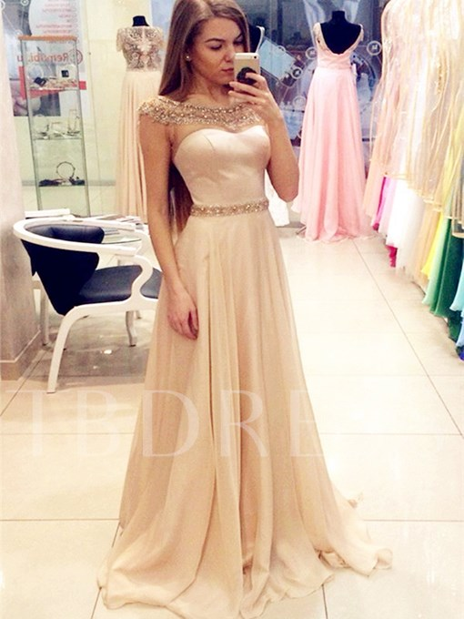 A-Line Beading Bateau Floor-Length Evening Dress