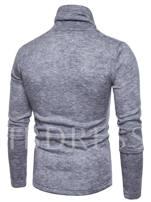 Heap Collar Solid Color Slim Fit Knit Men's Casual Sweater