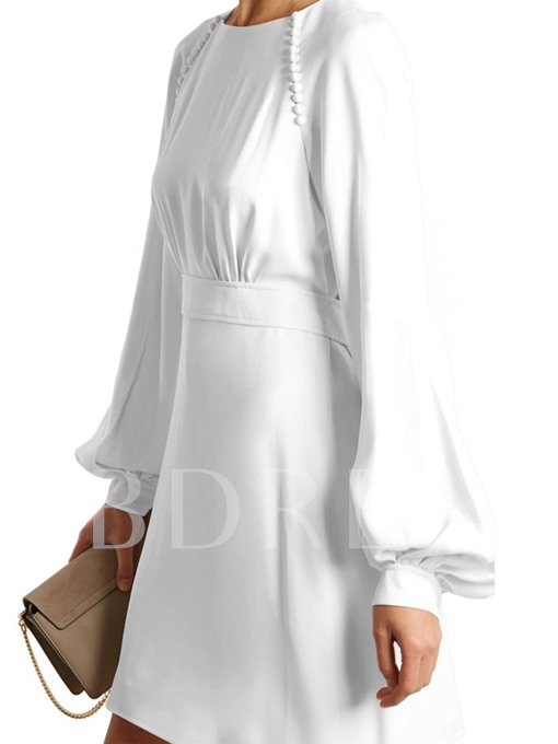 Plain Lace up Women's Lantern Sleeve Dress