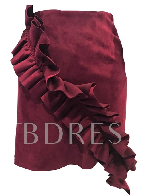 Slim Patchwork Pleated Solid Color Women's Mini Skirt