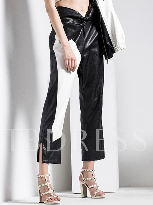 Straight Patchwork Color Block Women's Casual Pants