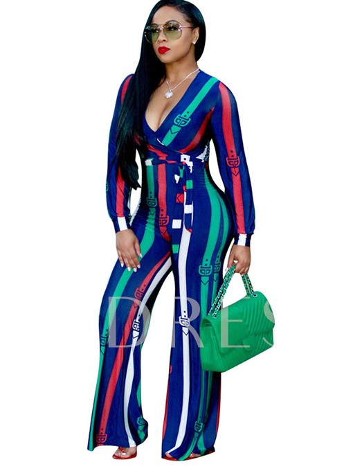 Stripe Print Color Block Deep V-Neck Women's Jumpsuits