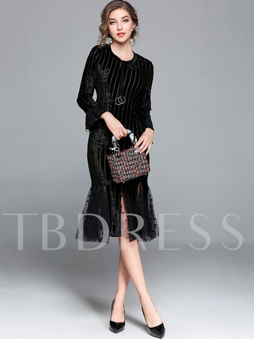 Bell Sleeve Velvet Patchwork Women's Sheath Dress