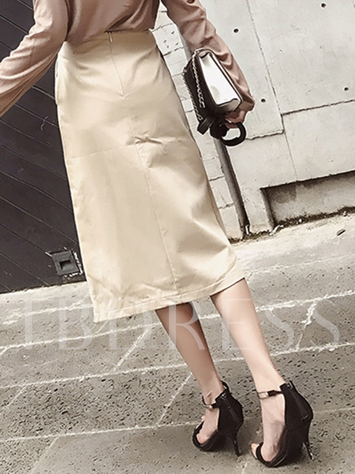 A-Line Double-Breasted High Waist Women's Skirt