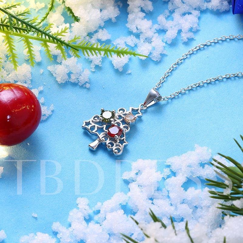 Christmas Stars Rhinestone Hollow Out Alloy Bronze Necklace