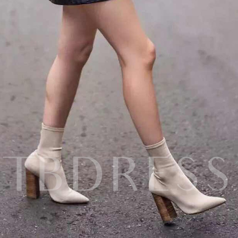Beige Shoes Chunky Heel Women's Sock Boots