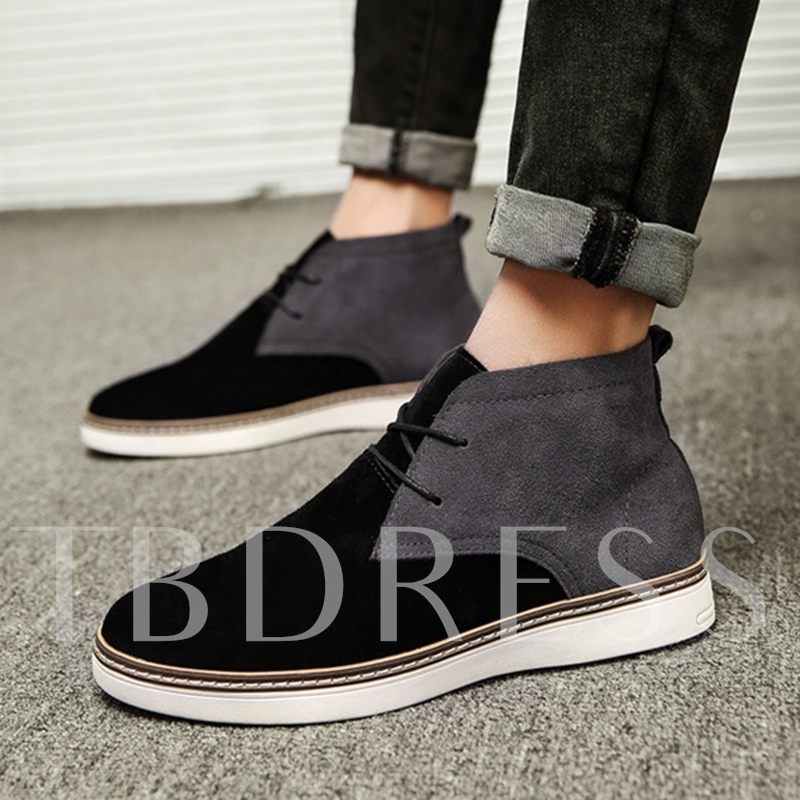 Color Block Lace Up High Cut Ankle Boots for Men