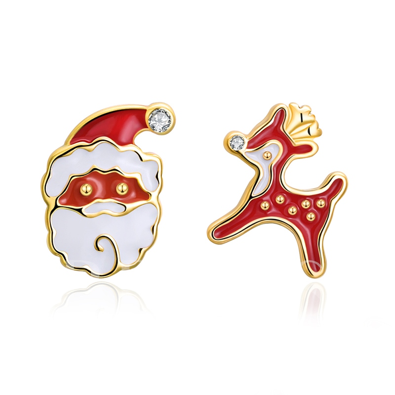 Christmas Oil Drip Santa Claus Earrings