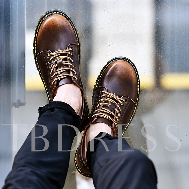 Brush Off Lace Up Thread Plush Men's Winter Shoes