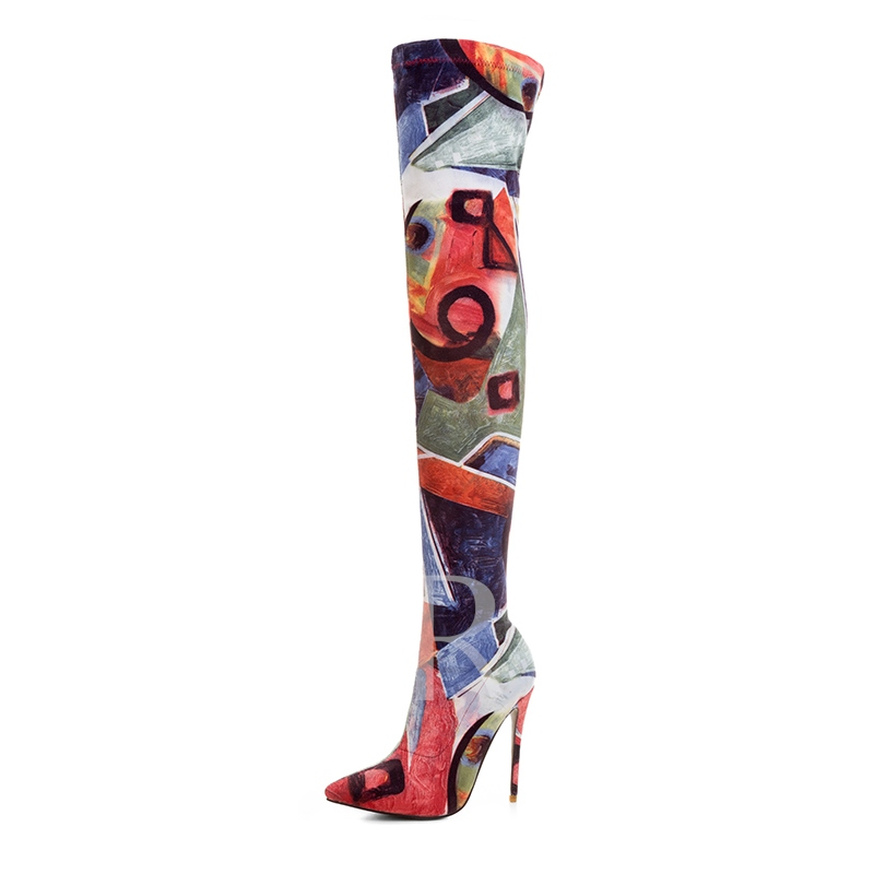 Party Shoes Slip On Spandex Painted Thigh High Boots for Women