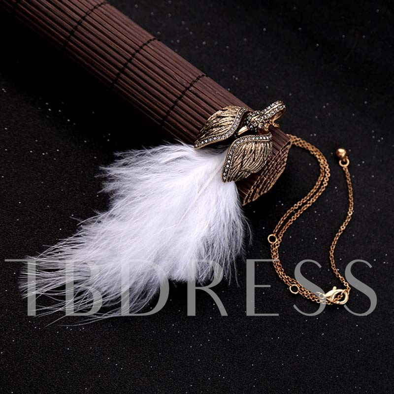 Hot Sale Diamante Swan Feather Necklace