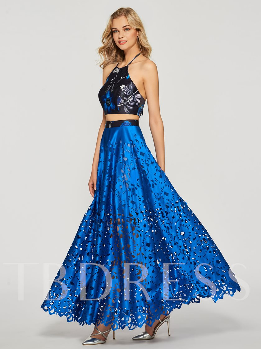 Halter A-Line Hollow Flowers Prom Dress