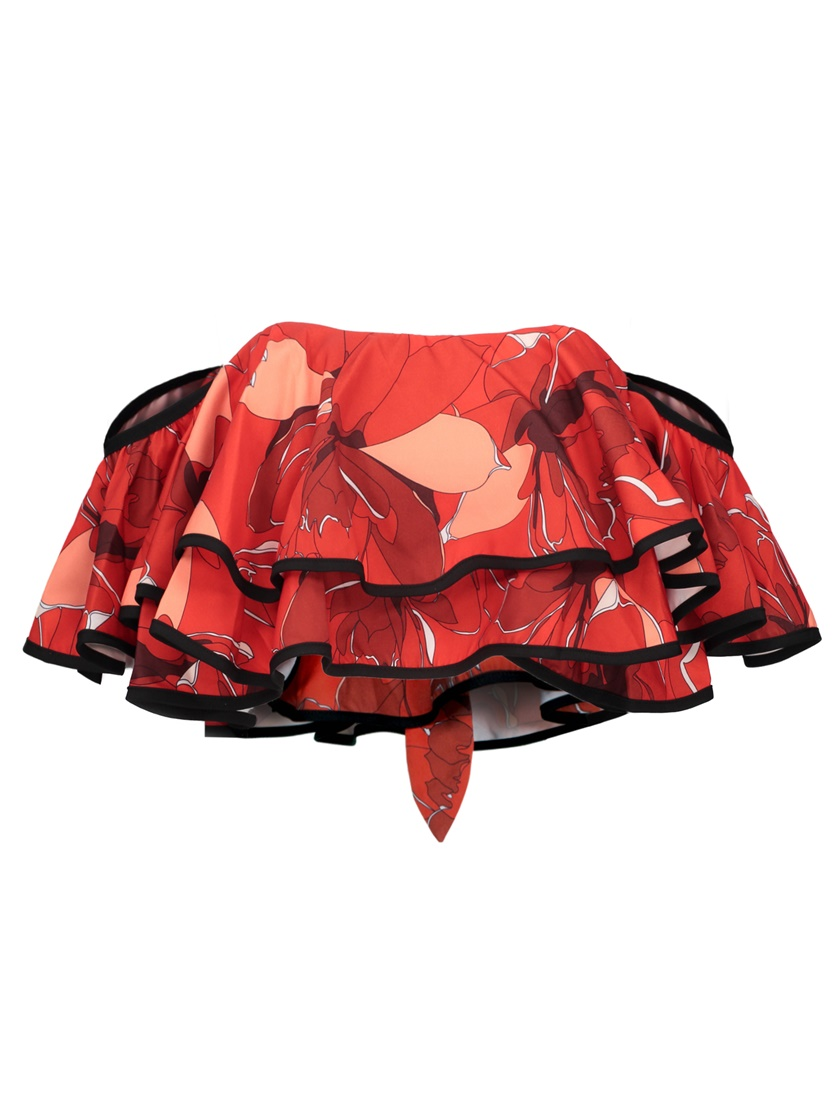 Layered Back Zip Floral Print Women's Crop Top