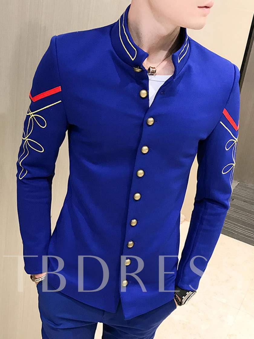 Stand Collar Embroidery Slim Fit Men's Blazer