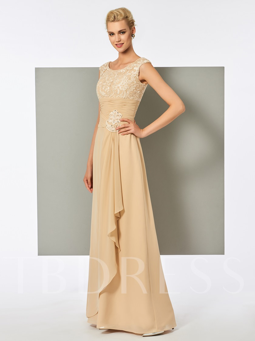 Scoop A-Line Lace Pleats Long Evening Dress