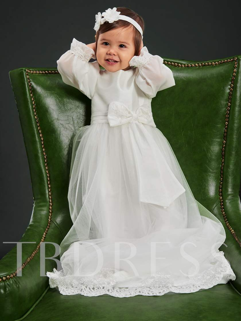 Appliques Bowknot Long Sleeves Christening Gown with Headband