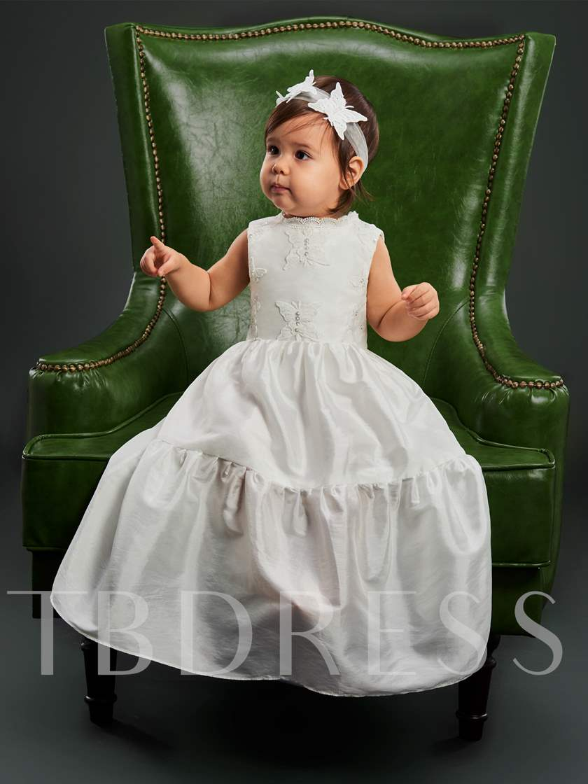 Butterfly Appliques Sleeveless Christening Gown for Girls