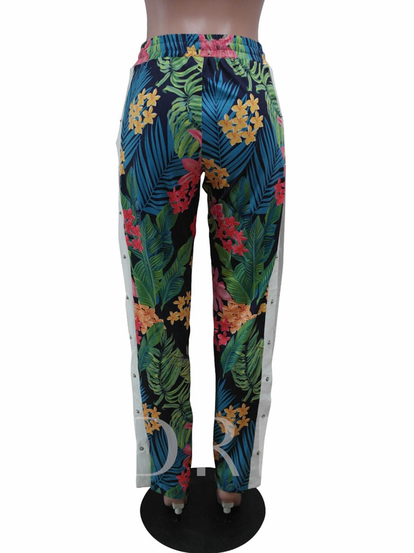 Floral Print Side Button Women's Casual Palazzo Pants