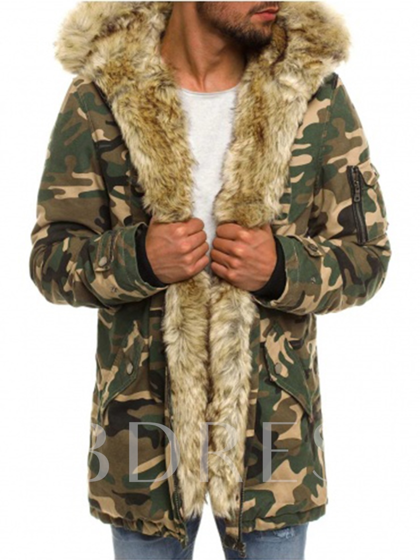 17a0aa58ff3 Fur Collar Midi Pattern Camouflage Thicken Warm Slim Fit Men's Parka Coat.  Sold Out