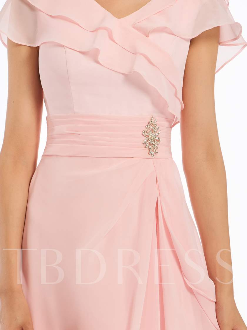 V-Neck Cap Sleeves Chiffon Long Bridesmaid Dress