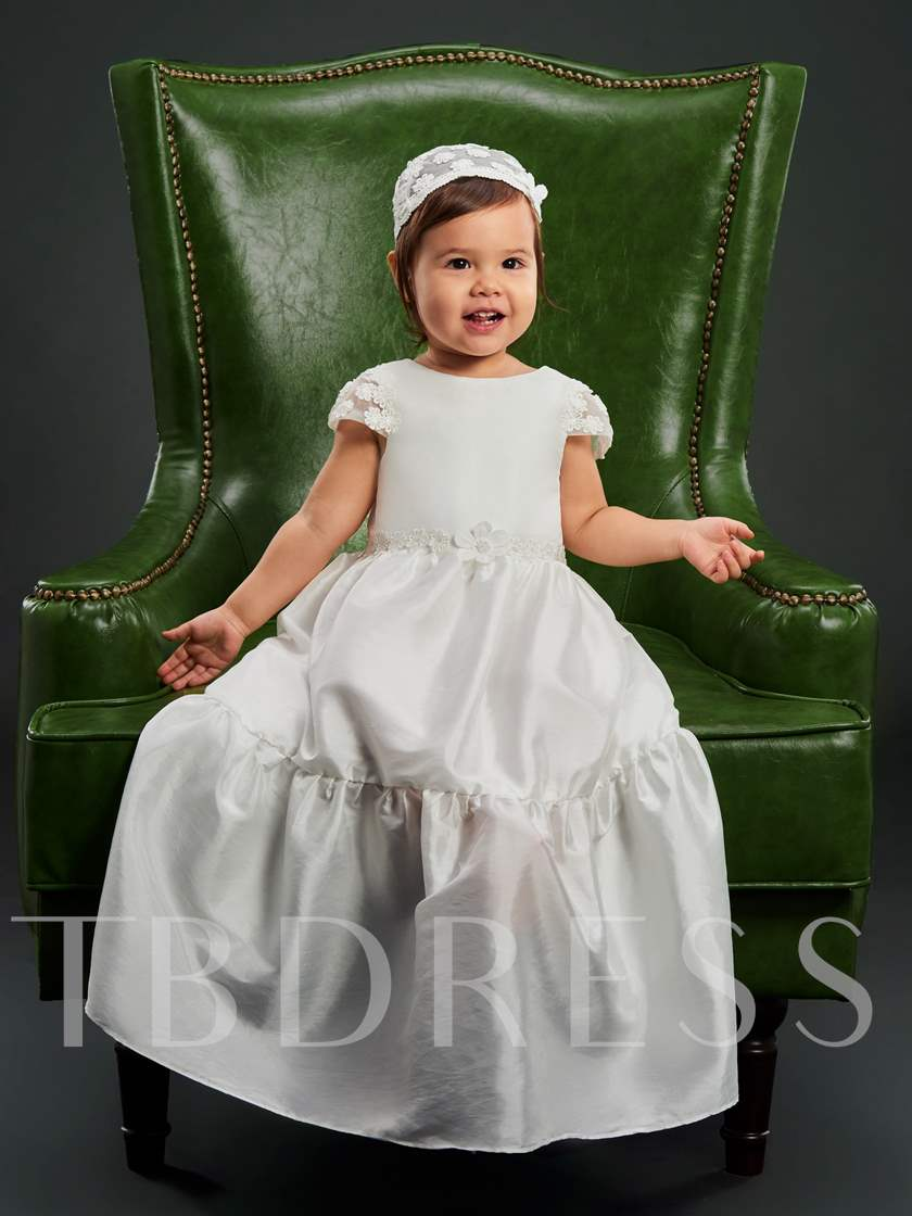 Cap Sleeves Appliques Baby Girls Christening Gown for Baptism
