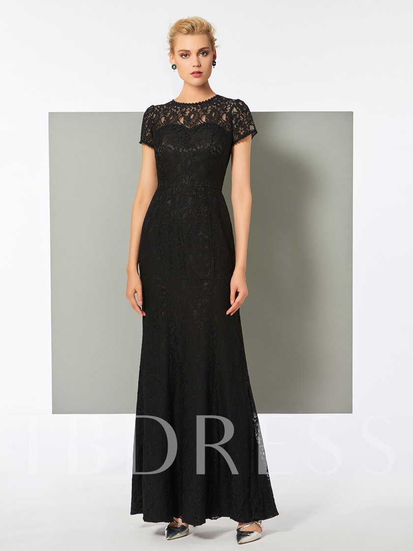Scoop Cap Sleeves Trumpet Floor-Length Evening Dress