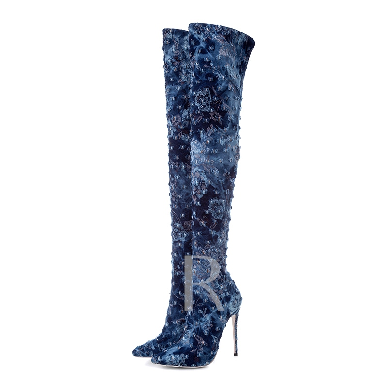 Dark Blue High Heel Hollow Worn Chic Otk Boots for Women