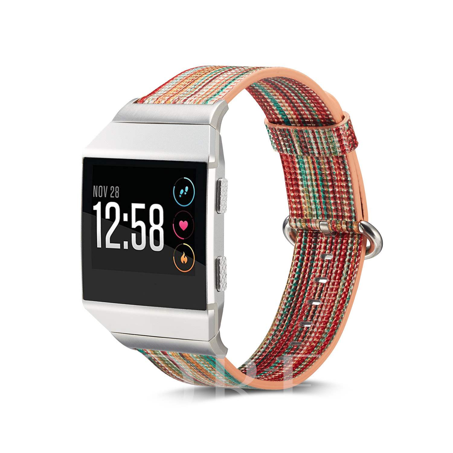Fitbit Ionic Smart Watch Band,Rainbow Pattern Artificial Leather Watch Strap