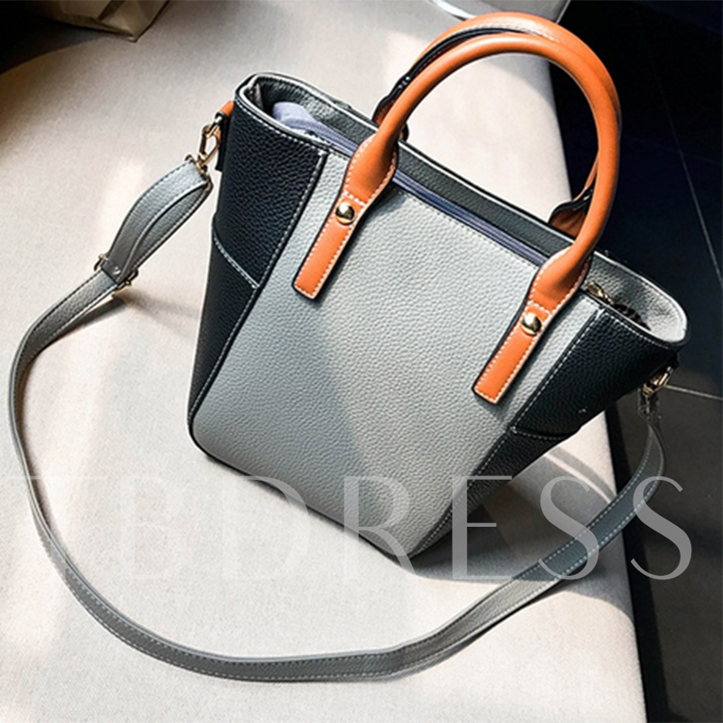 Casual Color Block Female Women Tote