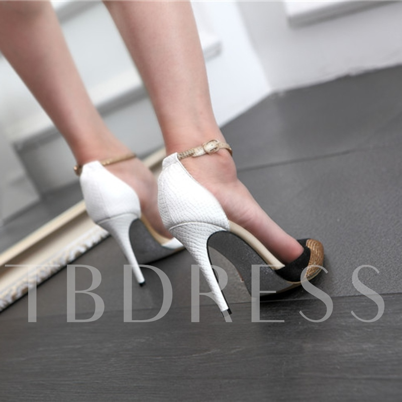 Pointed Toe Patchwork Rhinestone Buckle Women's High Heels