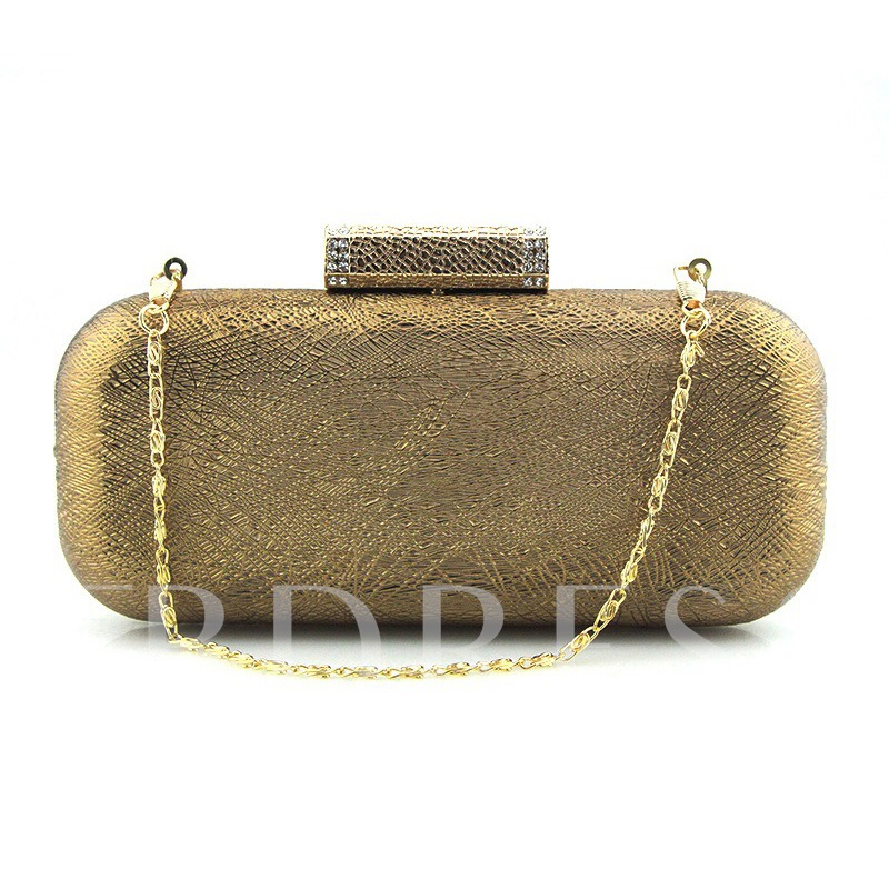 Simple Solid Color Chain PU Evening Clutch