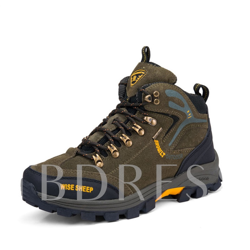 Color Block Lace Up Men's Hiking Shoes Durable Skidproof Sneakers