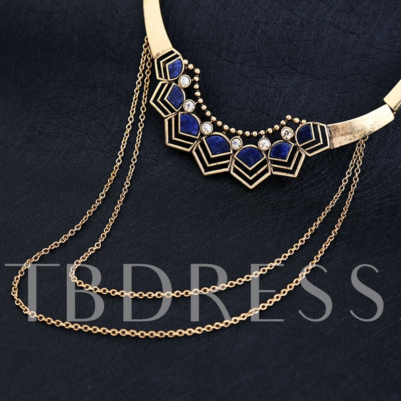 Choker Geometric Natural Stone Multilayer Necklace