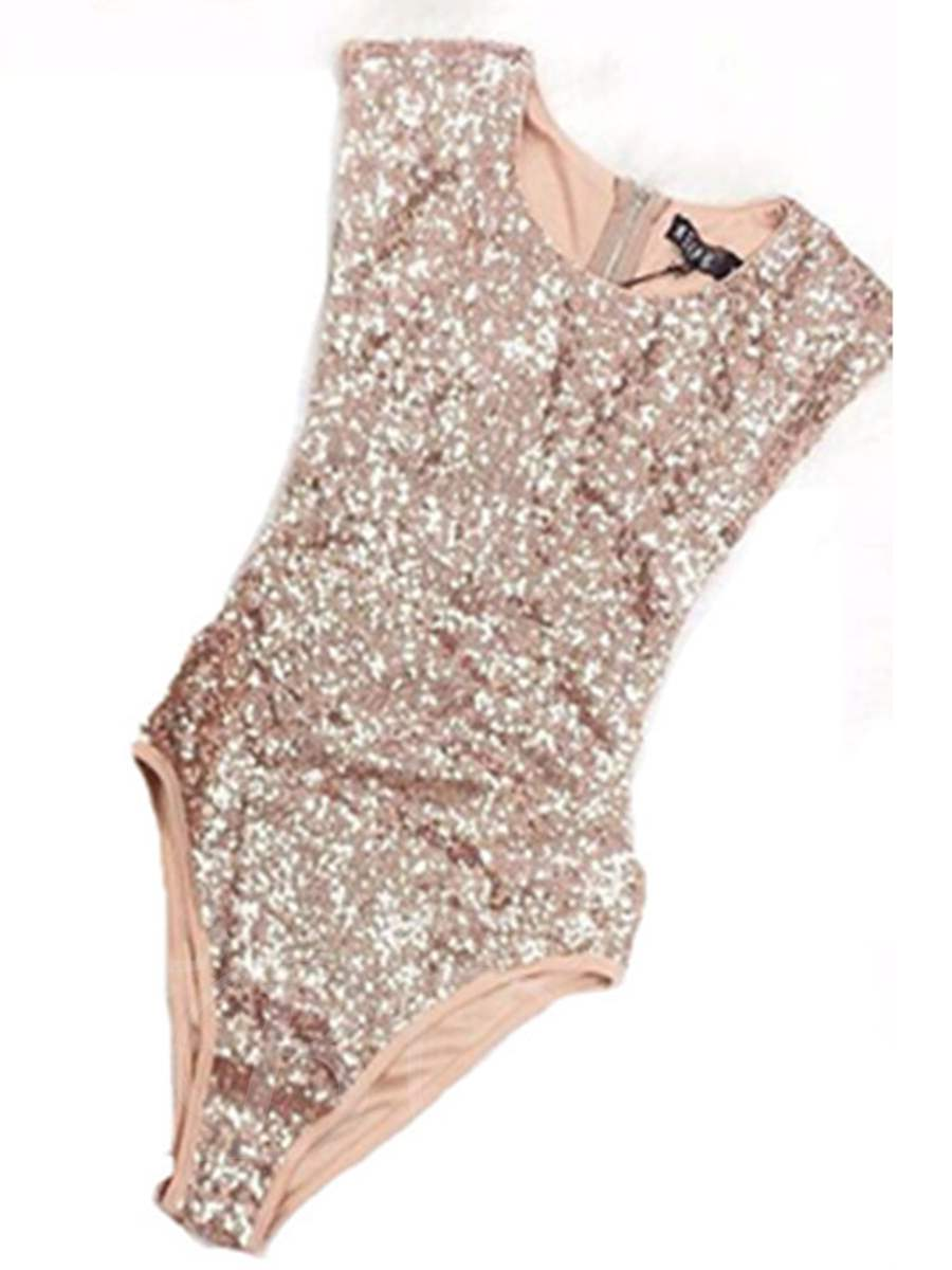 Chic Sequins Zipper One-Piece Swimsuit