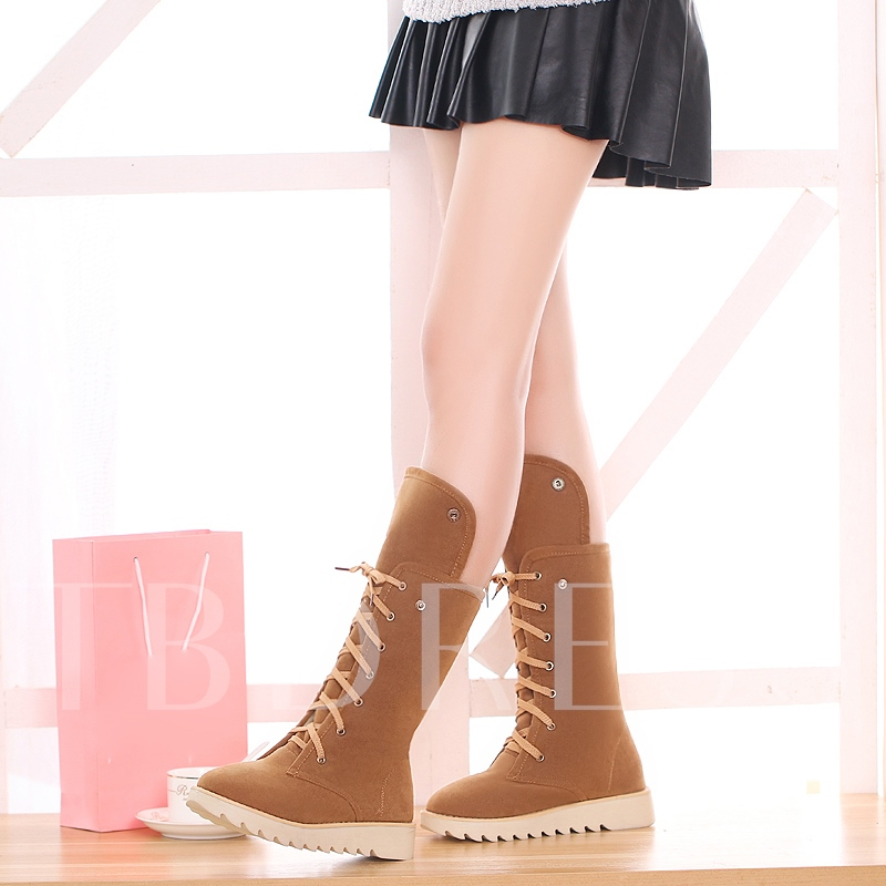 Warm Plush Lace Up Women's Flat With Boots