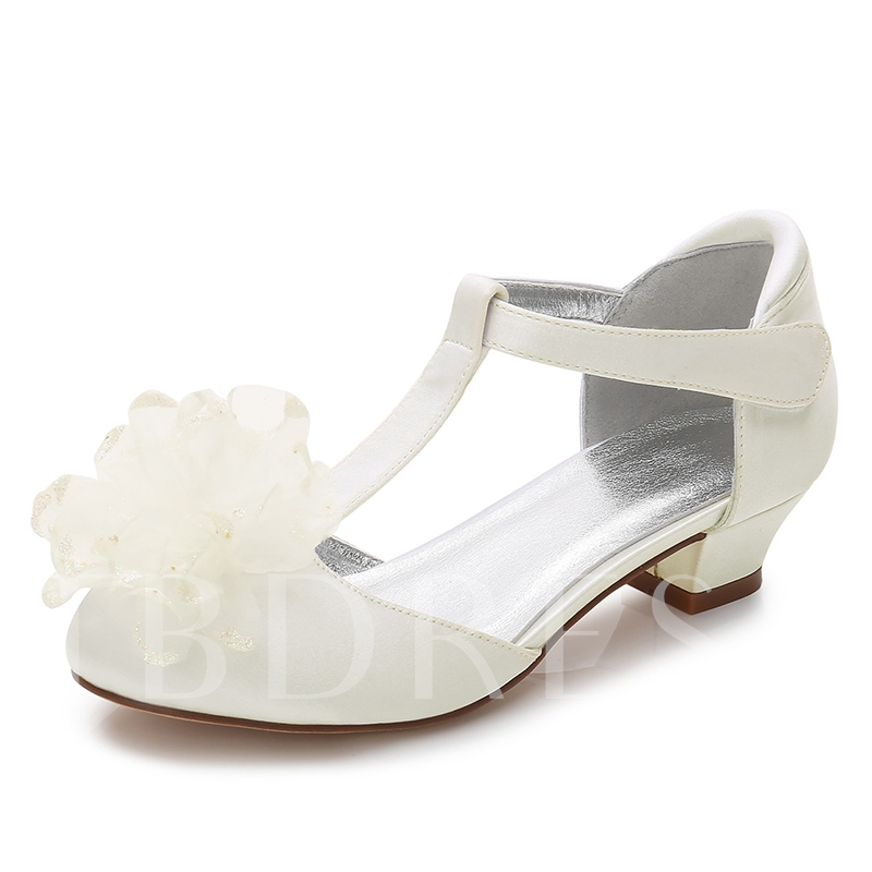 Floral Front Chunky Heel Bridal Shoes for Women