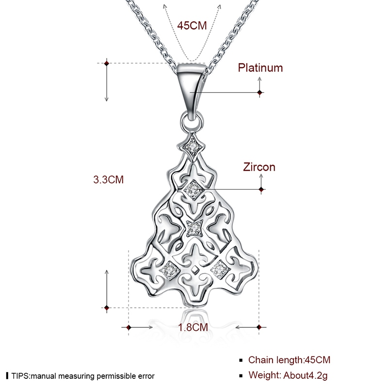 Christmas Hollow Out Bronze Link Chian Zircon Necklace