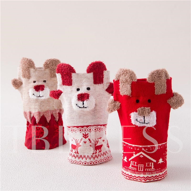 Christmas Cartoon Deer Winter 3 PCS Socks