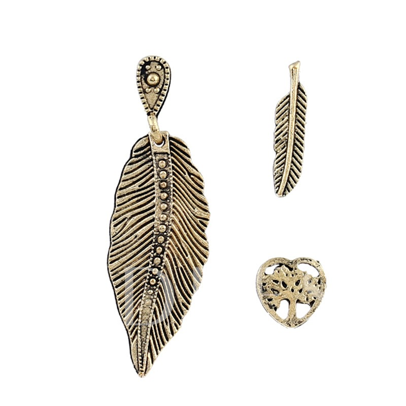 3pc Hollow Out Leaf Alloy Vintage Earrings Sets
