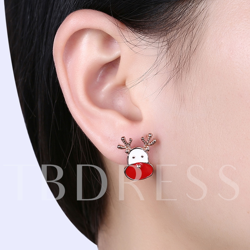 Christmas Candle Reindeer Rudolph Color Blocking Earrings